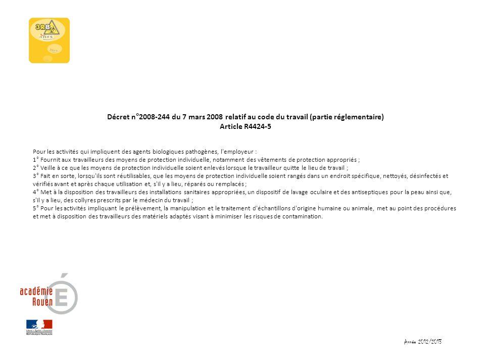 Décret n°2008-244 du 7 mars 2008 relatif au code du travail (partie réglementaire) Article R4424-5 Pour les activités qui impliquent des agents biolog