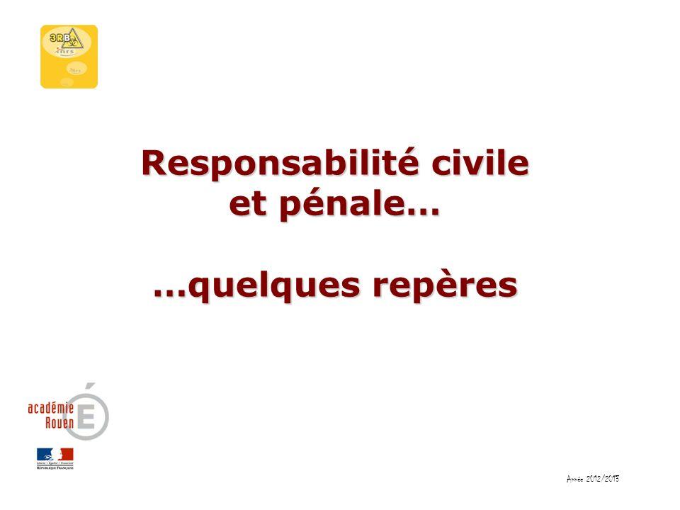 Responsabilité civile et pénale… …quelques repères