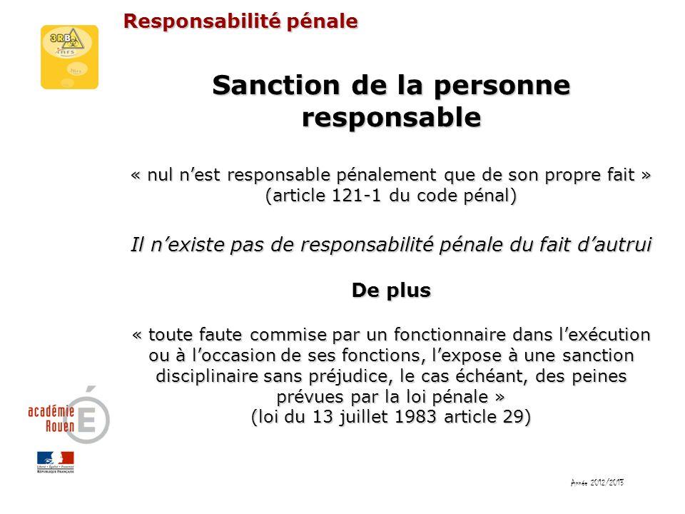 Responsabilité pénale Sanction de la personne responsable « nul nest responsable pénalement que de son propre fait » (article 121-1 du code pénal) Il