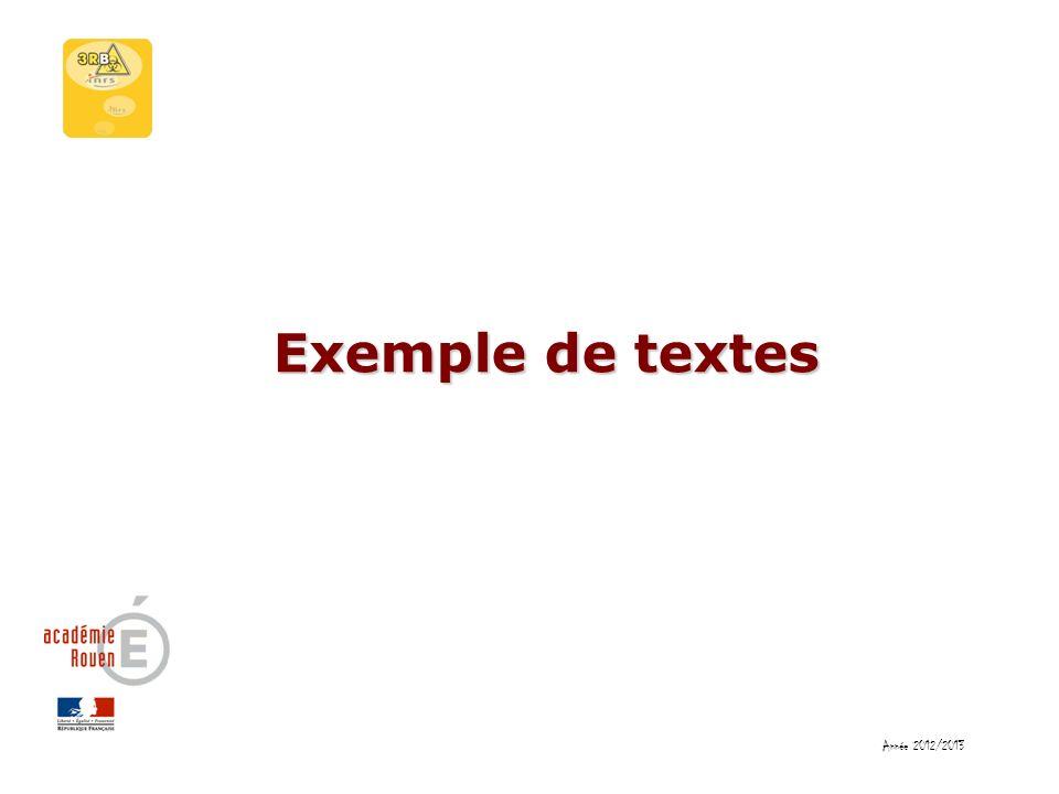 Exemple de textes Année 2012/2013