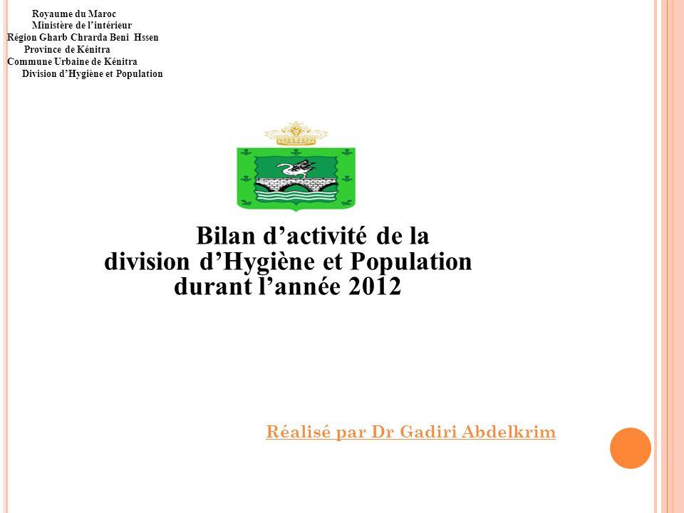 Bilan dactivité de la division dHygiène et Population durant lannée 2012 Royaume du Maroc Ministère de lintérieur Région Gharb Chrarda Beni Hssen Prov