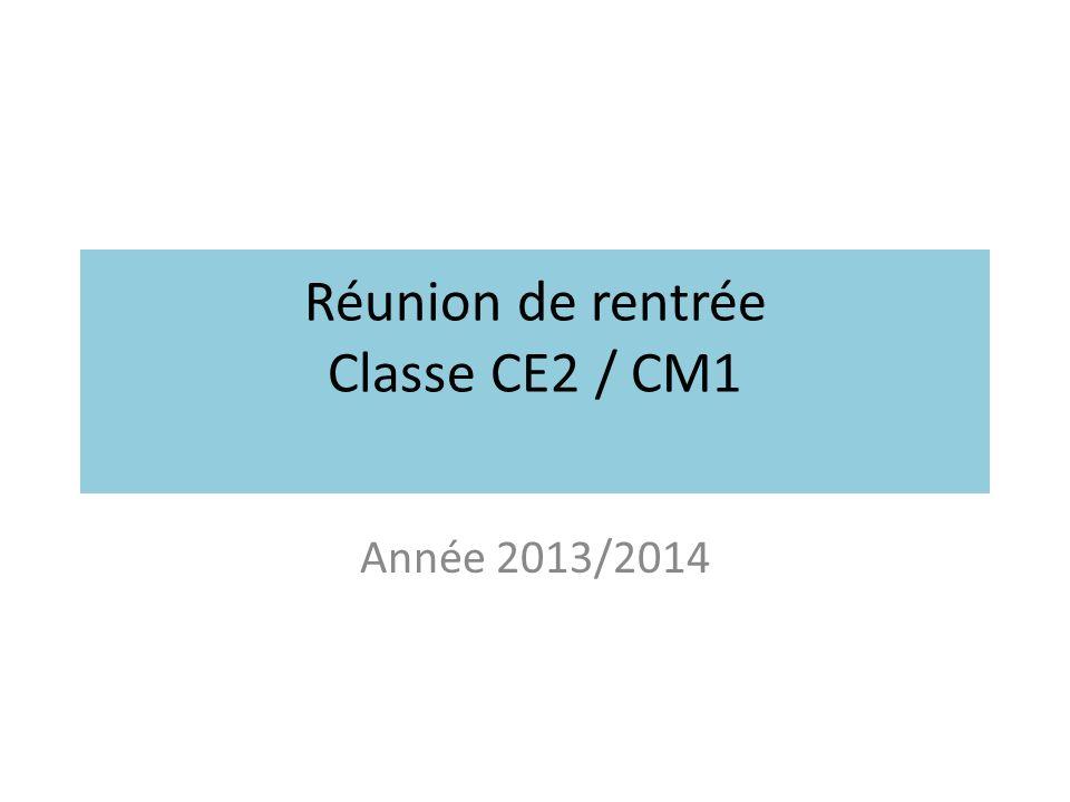 Réunion de rentrée Classe CE2 / CM1 Année 2013/2014