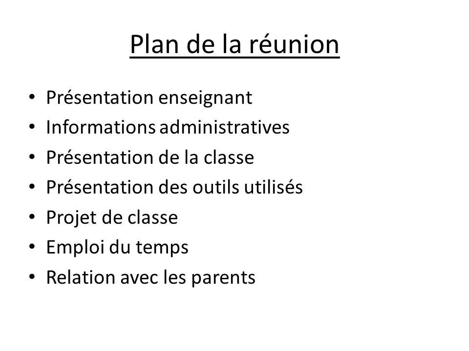 Plan de la réunion Présentation enseignant Informations administratives Présentation de la classe Présentation des outils utilisés Projet de classe Emploi du temps Relation avec les parents