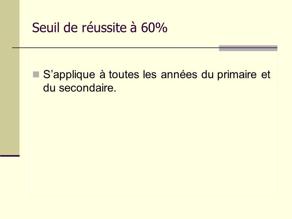 Seuil de réussite à 60% Sapplique à toutes les années du primaire et du secondaire.