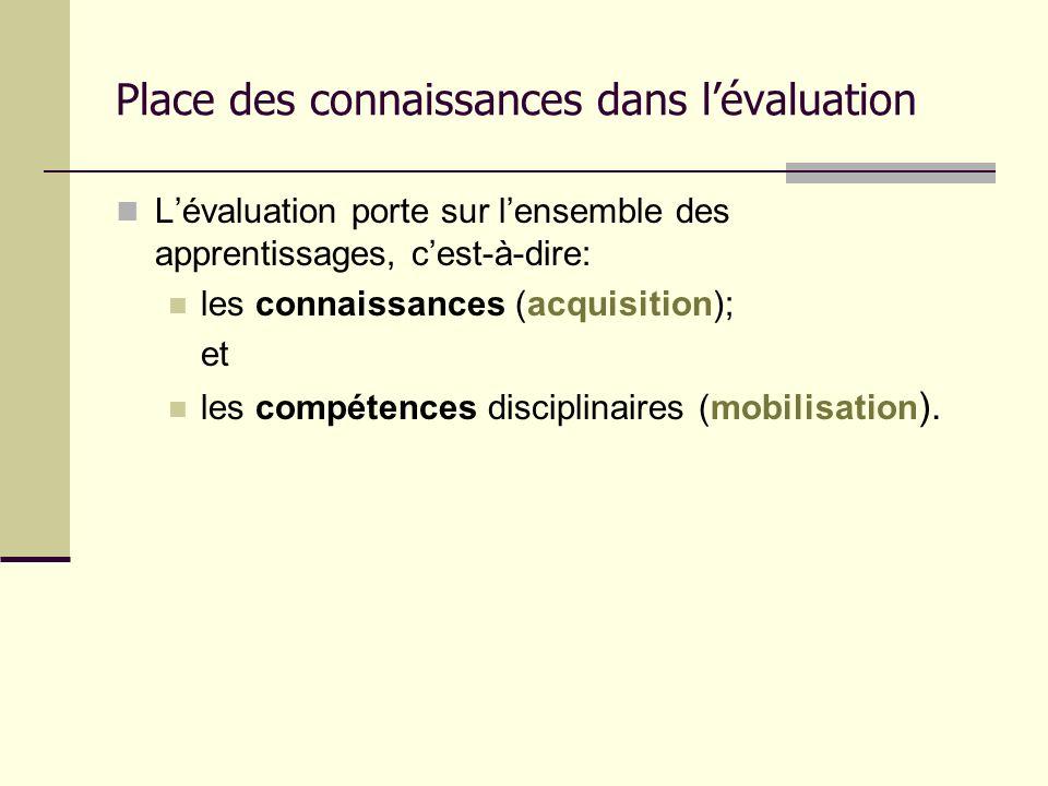 Place des connaissances dans lévaluation Lévaluation porte sur lensemble des apprentissages, cest-à-dire: les connaissances (acquisition); et les comp