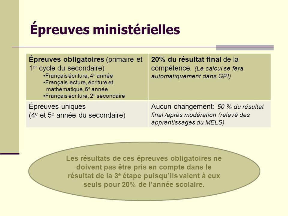 Épreuves ministérielles Épreuves obligatoires (primaire et 1 er cycle du secondaire) Français écriture, 4 e année Français lecture, écriture et mathém