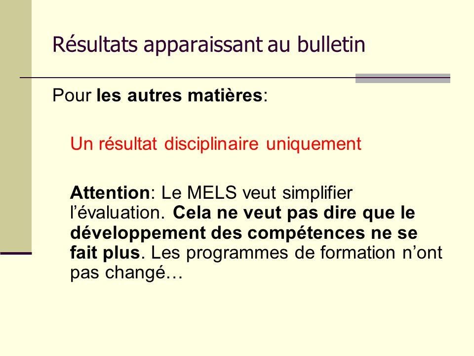 Résultats apparaissant au bulletin Pour les autres matières: Un résultat disciplinaire uniquement Attention: Le MELS veut simplifier lévaluation. Cela