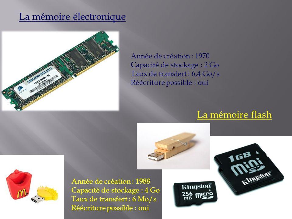 La mémoire électronique Année de création : 1970 Capacité de stockage : 2 Go Taux de transfert : 6,4 Go/s Réécriture possible : oui La mémoire flash A
