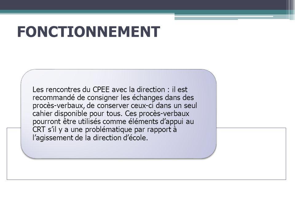 FONCTIONNEMENT Les rencontres du CPEE avec la direction : il est recommandé de consigner les échanges dans des procès-verbaux, de conserver ceux-ci dans un seul cahier disponible pour tous.