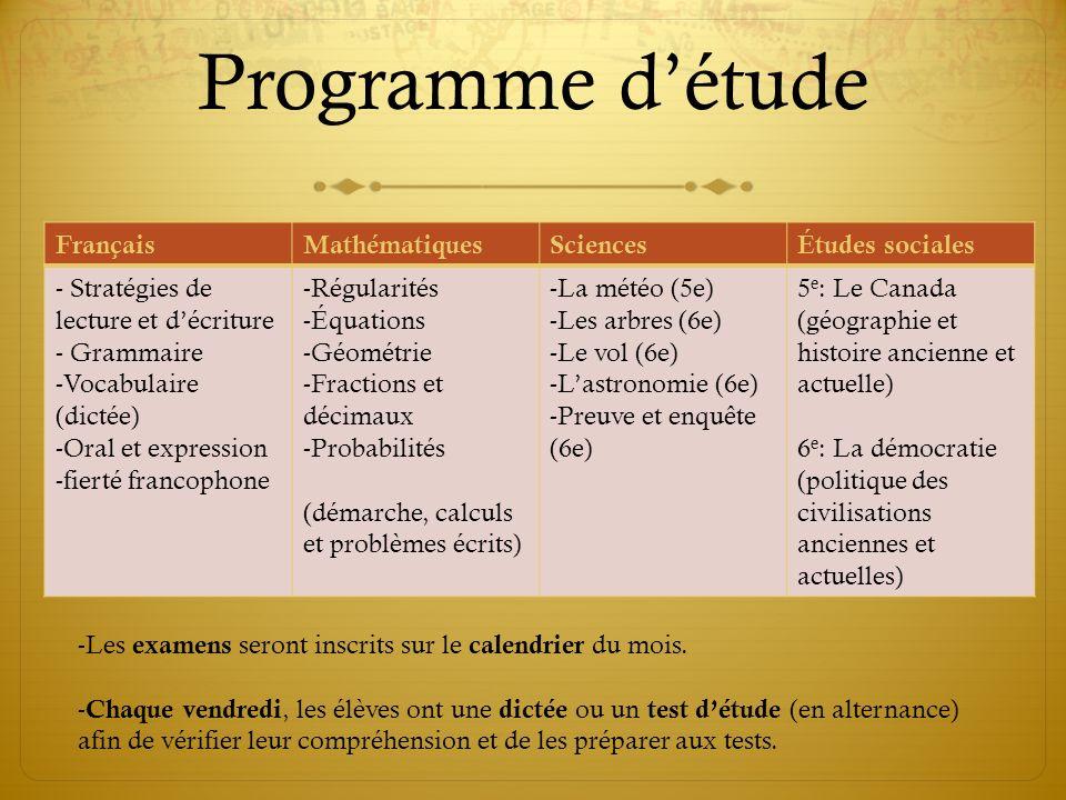 Programme détude FrançaisMathématiquesSciencesÉtudes sociales - Stratégies de lecture et décriture - Grammaire -Vocabulaire (dictée) -Oral et expressi