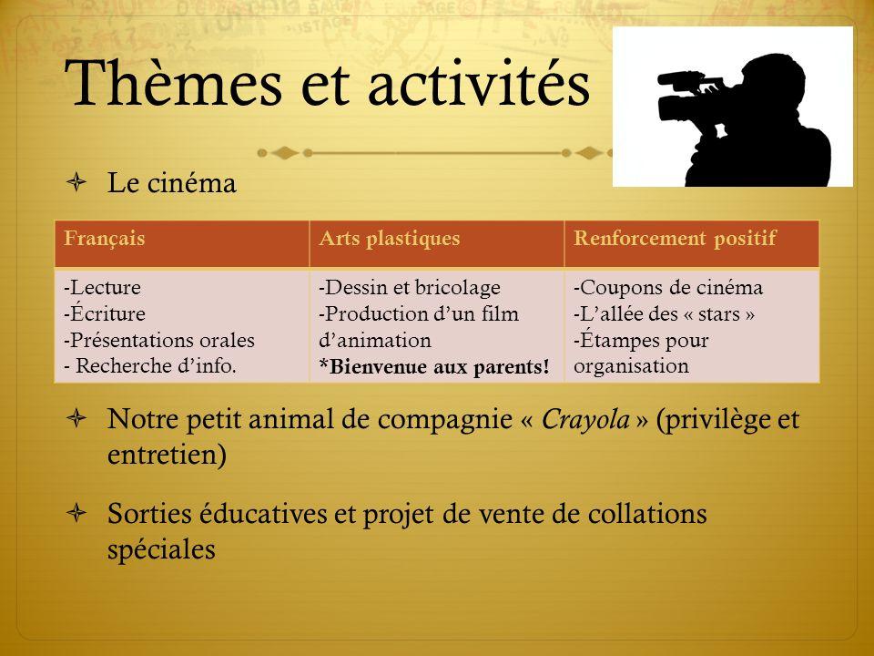 Thèmes et activités Le cinéma Notre petit animal de compagnie « Crayola » (privilège et entretien) Sorties éducatives et projet de vente de collations