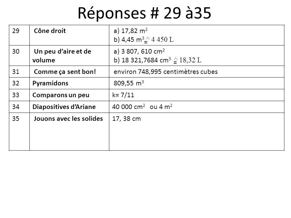 29 Cône droit a) 17,82 m 2 b) 4,45 m 3 ^ 4 450 L 30 Un peu daire et de volume a) 3 807, 610 cm 2 b) 18 321,7684 cm 3 ^ 18,32 L 31 Comme ça sent bon! e