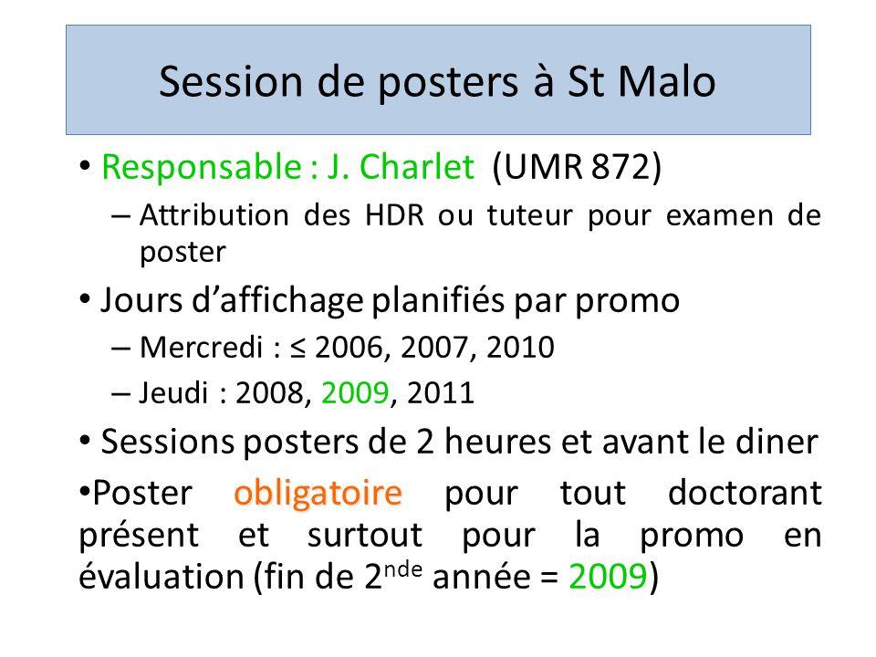 Session de posters à St Malo Responsable : J. Charlet (UMR 872) – Attribution des HDR ou tuteur pour examen de poster Jours daffichage planifiés par p