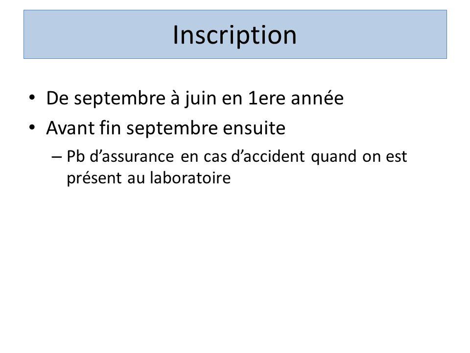 Inscription De septembre à juin en 1ere année Avant fin septembre ensuite – Pb dassurance en cas daccident quand on est présent au laboratoire