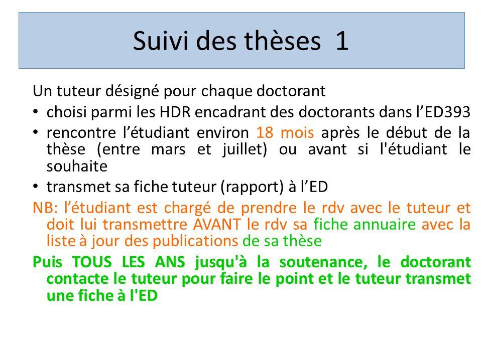 Suivi des thèses 1 Un tuteur désigné pour chaque doctorant choisi parmi les HDR encadrant des doctorants dans lED393 rencontre létudiant environ 18 mo
