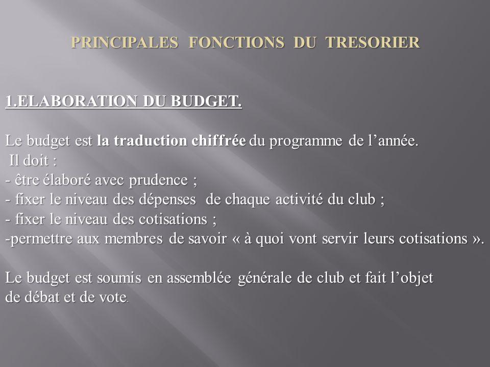 PRINCIPALES FONCTIONS DU TRESORIER 1.ELABORATION DU BUDGET.