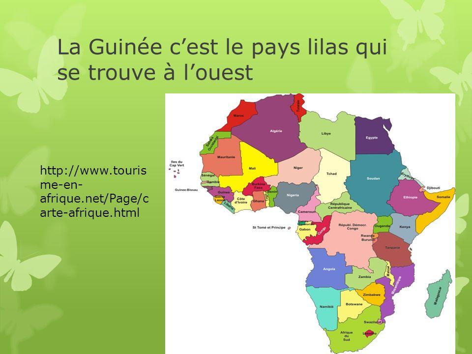 La Guinée cest le pays lilas qui se trouve à louest http://www.touris me-en- afrique.net/Page/c arte-afrique.html