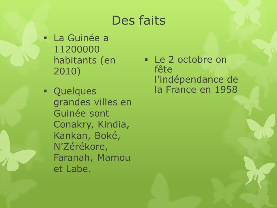 Des faits La Guinée a 11200000 habitants (en 2010) Quelques grandes villes en Guinée sont Conakry, Kindia, Kankan, Boké, NZérékore, Faranah, Mamou et