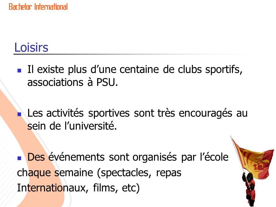 Loisirs Il existe plus dune centaine de clubs sportifs, associations à PSU. Les activités sportives sont très encouragés au sein de luniversité. Des é