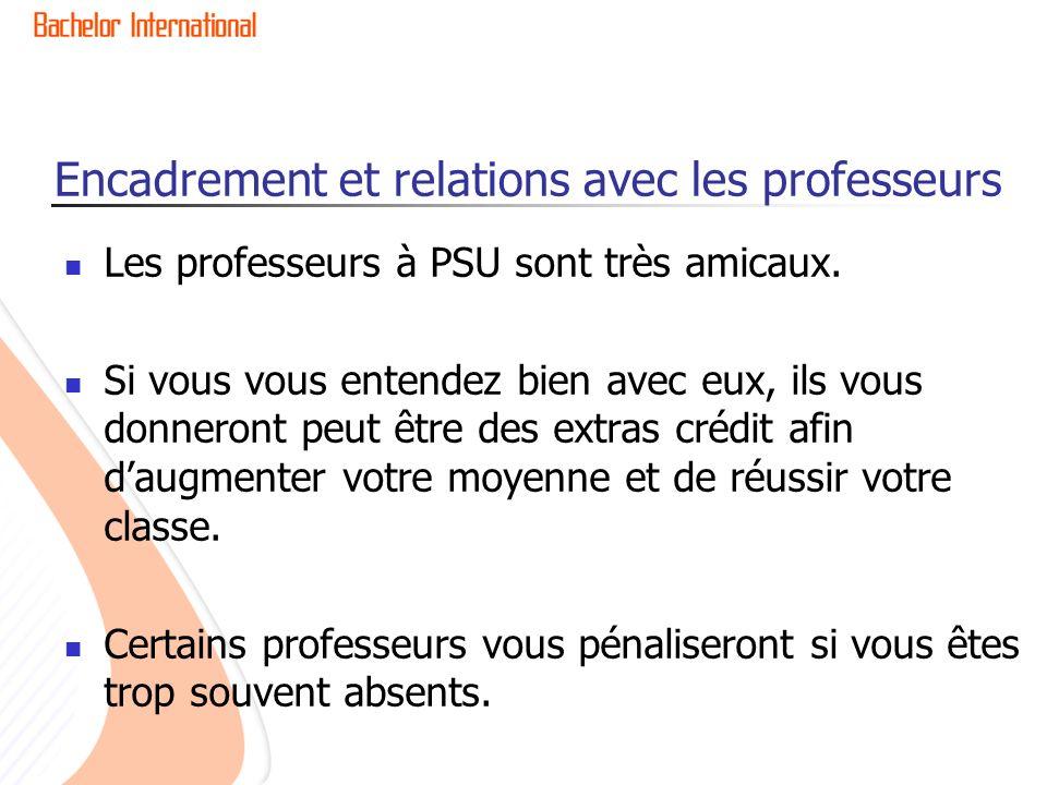 Encadrement et relations avec les professeurs Les professeurs à PSU sont très amicaux. Si vous vous entendez bien avec eux, ils vous donneront peut êt