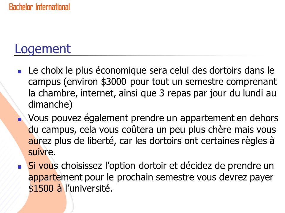 Logement Le choix le plus économique sera celui des dortoirs dans le campus (environ $3000 pour tout un semestre comprenant la chambre, internet, ains