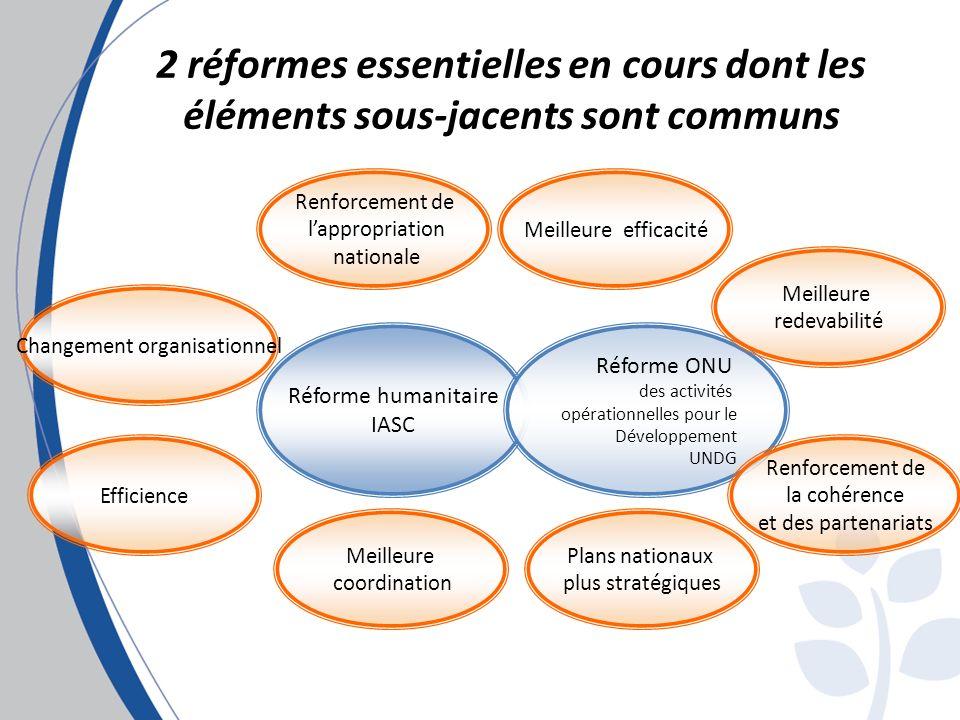 2 réformes essentielles en cours dont les éléments sous-jacents sont communs Réforme humanitaire IASC Réforme ONU des activités opérationnelles pour le Développement UNDG Meilleure efficacité Meilleure redevabilité Renforcement de lappropriation nationale Meilleure coordination Plans nationaux plus stratégiques Renforcement de la cohérence et des partenariats Efficience Changement organisationnel