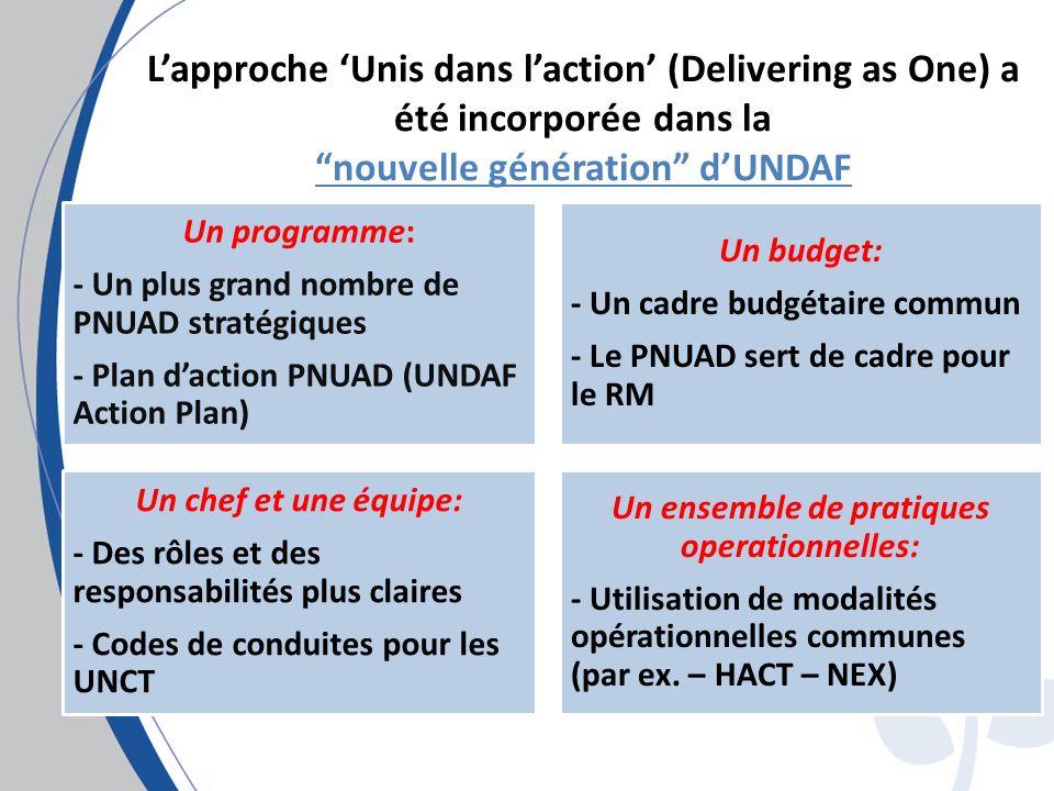 Lapproche Unis dans laction (Delivering as One) a été incorporée dans la nouvelle génération dUNDAF Un programme: - Un plus grand nombre de PNUAD stratégiques - Plan daction PNUAD (UNDAF Action Plan) Un budget: - Un cadre budgétaire commun - Le PNUAD sert de cadre pour le RM Un chef et une équipe: - Des rôles et des responsabilités plus claires - Codes de conduites pour les UNCT Un ensemble de pratiques operationnelles: - Utilisation de modalités opérationnelles communes (par ex.
