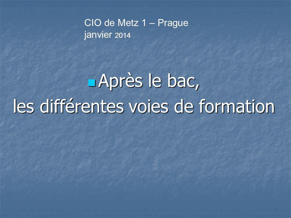 Après le bac, Après le bac, les différentes voies de formation CIO de Metz 1 – Prague janvier 2014