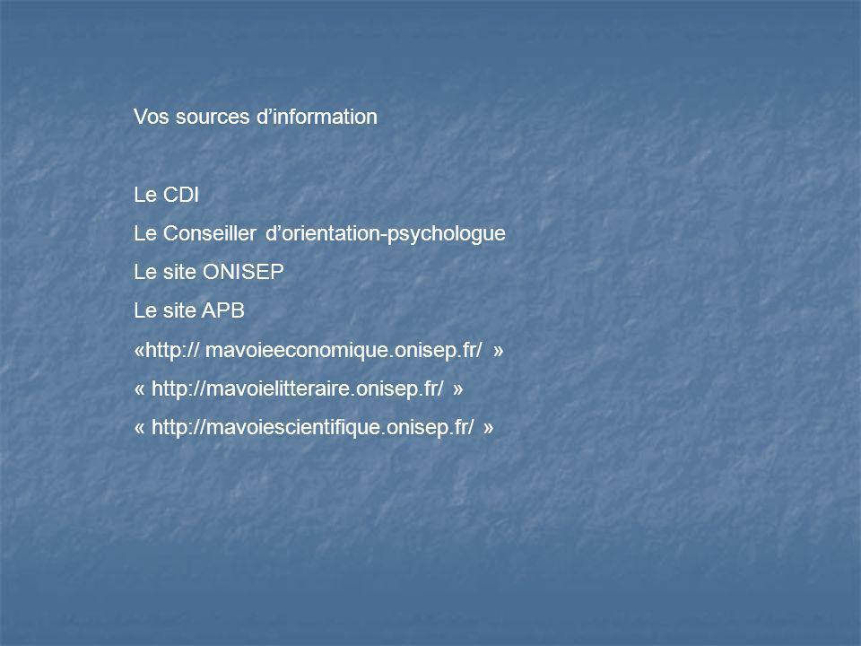 Vos sources dinformation Le CDI Le Conseiller dorientation-psychologue Le site ONISEP Le site APB «http:// mavoieeconomique.onisep.fr/ » « http://mavo