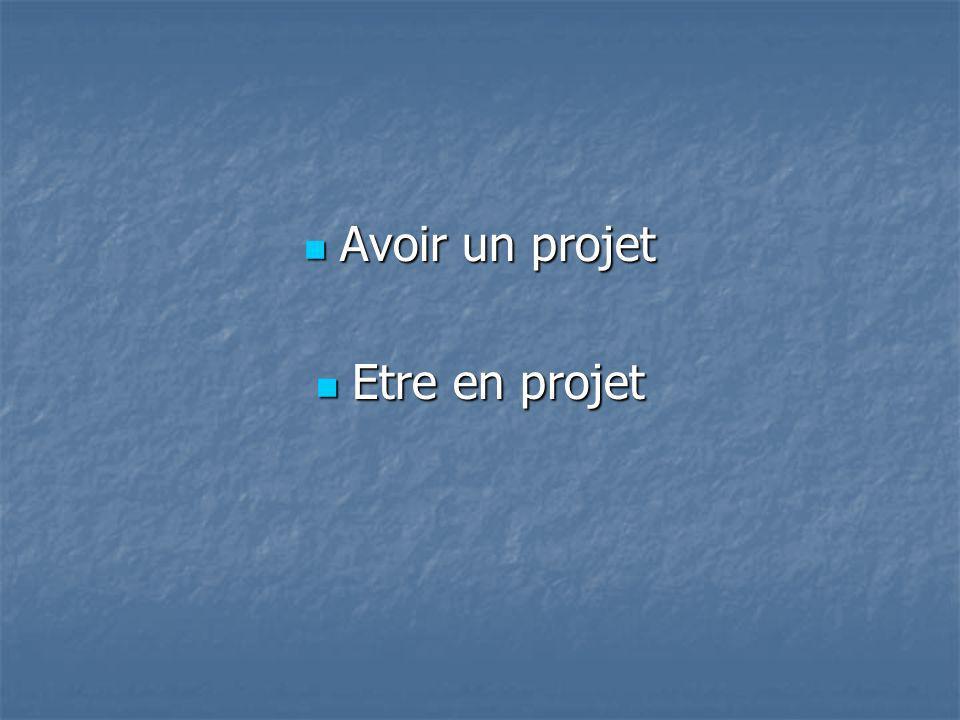 Avoir un projet Avoir un projet Etre en projet Etre en projet
