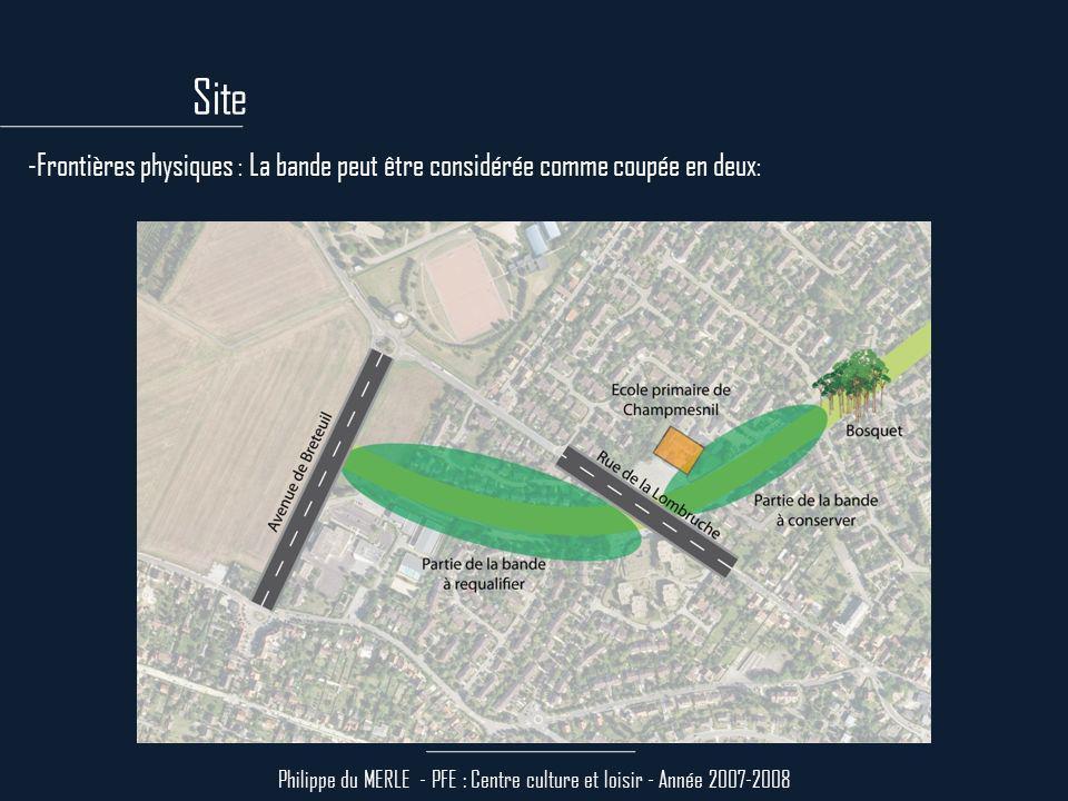 Site Philippe du MERLE - PFE : Centre culture et loisir - Année 2007-2008 -Densité et flux piétons : La partie de la bande à requalifier est positionnée entre deux pôles commerciaux et entre deux équipements scolaires.