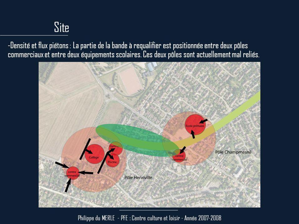 Philippe du MERLE - PFE : Centre culture et loisir - Année 2007-2008 -La circulation : Elle est éclairée naturellement par une bande vitrée de 3m de large (pour une profondeur de 7m) et par un patio.