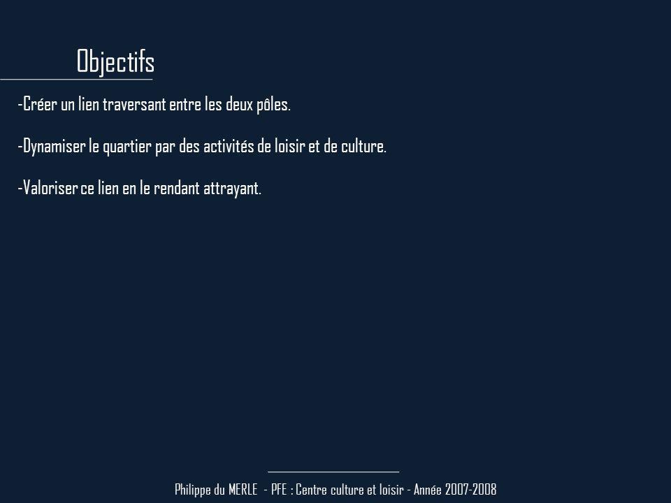 Philippe du MERLE - PFE : Centre culture et loisir - Année 2007-2008 -Etroitesse du terrain : 30m, sans chaussée ni trottoirs existants.