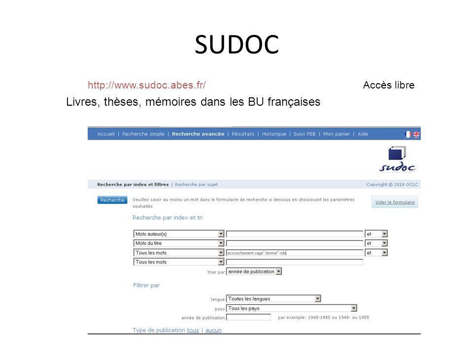SUDOC http://www.sudoc.abes.fr/ Accès libre Livres, thèses, mémoires dans les BU françaises