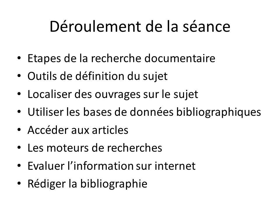 Déroulement de la séance Etapes de la recherche documentaire Outils de définition du sujet Localiser des ouvrages sur le sujet Utiliser les bases de d