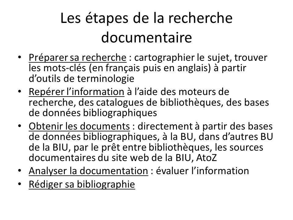 Les étapes de la recherche documentaire Préparer sa recherche : cartographier le sujet, trouver les mots-clés (en français puis en anglais) à partir d