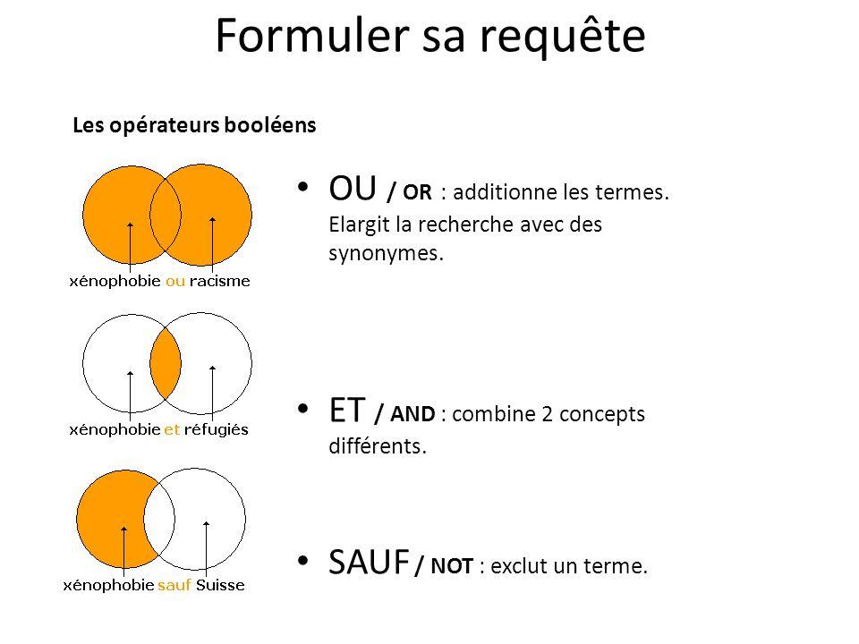 Formuler sa requête OU / OR : additionne les termes. Elargit la recherche avec des synonymes. ET / AND : combine 2 concepts différents. SAUF / NOT : e