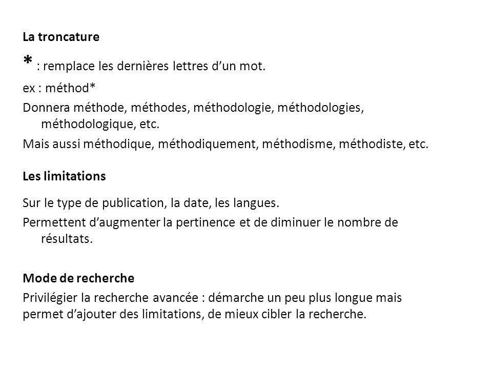 La troncature * : remplace les dernières lettres dun mot. ex : méthod* Donnera méthode, méthodes, méthodologie, méthodologies, méthodologique, etc. Ma