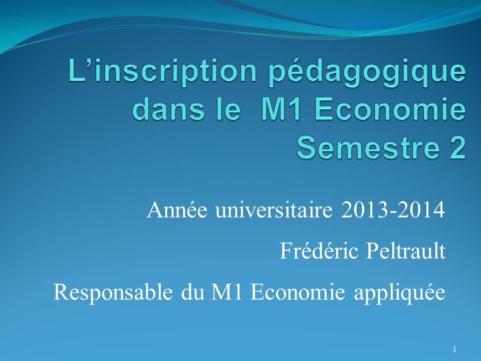 Année universitaire 2013-2014 Frédéric Peltrault Responsable du M1 Economie appliquée 1
