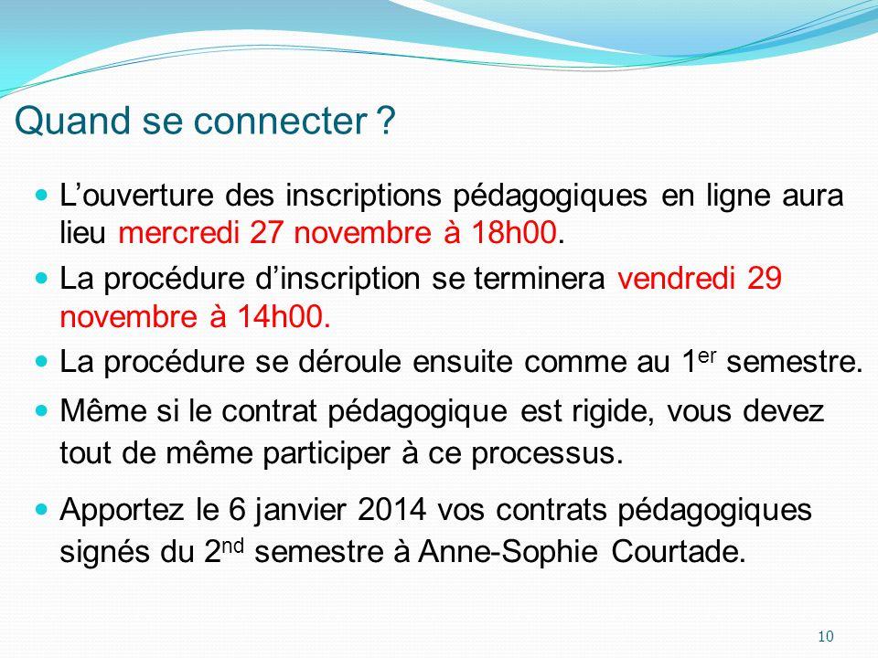 Quand se connecter ? Louverture des inscriptions pédagogiques en ligne aura lieu mercredi 27 novembre à 18h00. La procédure dinscription se terminera