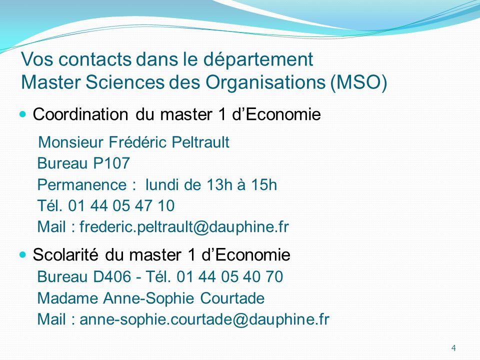Vos contacts dans le département Master Sciences des Organisations (MSO) Coordination du master 1 dEconomie Monsieur Frédéric Peltrault Bureau P107 Pe