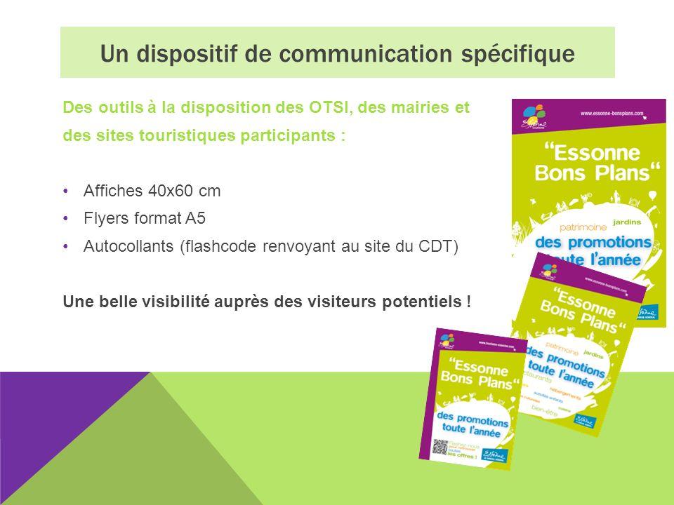 Des outils à la disposition des OTSI, des mairies et des sites touristiques participants : Affiches 40x60 cm Flyers format A5 Autocollants (flashcode