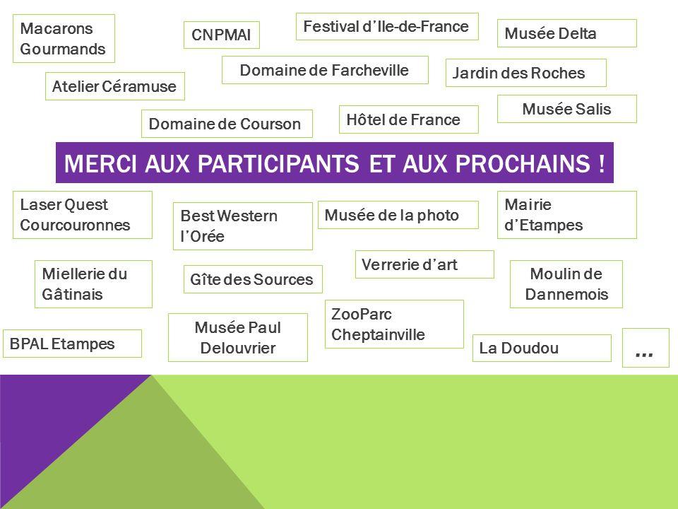 MERCI AUX PARTICIPANTS ET AUX PROCHAINS ! Atelier Céramuse CNPMAI Domaine de Courson Domaine de Farcheville Festival dIle-de-France Hôtel de France Ja