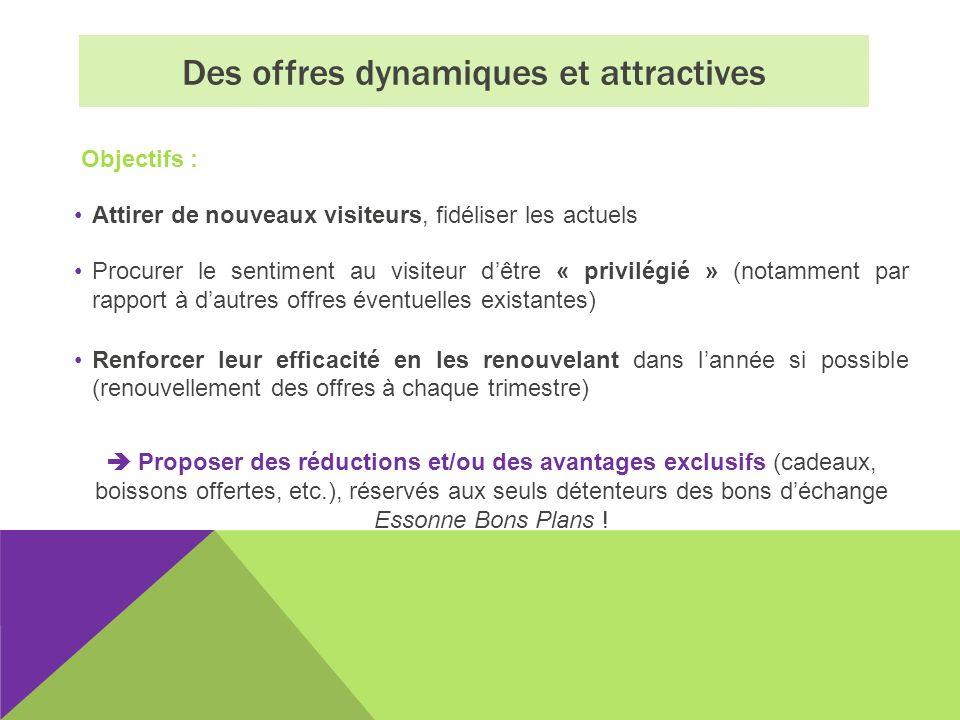 Des offres dynamiques et attractives Objectifs : Attirer de nouveaux visiteurs, fidéliser les actuels Procurer le sentiment au visiteur dêtre « privil
