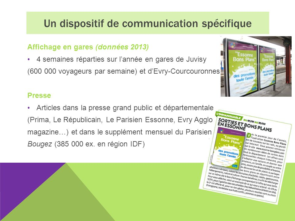 Affichage en gares (données 2013) 4 semaines réparties sur lannée en gares de Juvisy (600 000 voyageurs par semaine) et dEvry-Courcouronnes Presse Art