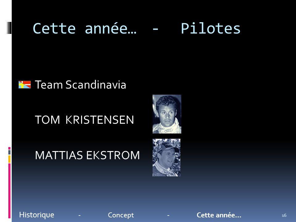 Cette année…-Pilotes Historique -Concept-Cette année… Team Scandinavia TOM KRISTENSEN MATTIAS EKSTROM 16