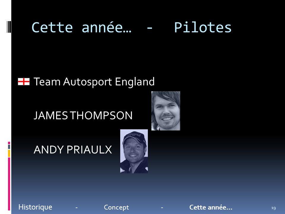 Cette année…-Pilotes Historique -Concept-Cette année… Team Autosport England JAMES THOMPSON ANDY PRIAULX 19