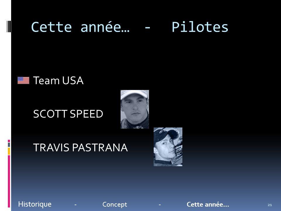 Cette année…-Pilotes Historique -Concept-Cette année… Team USA SCOTT SPEED TRAVIS PASTRANA 21