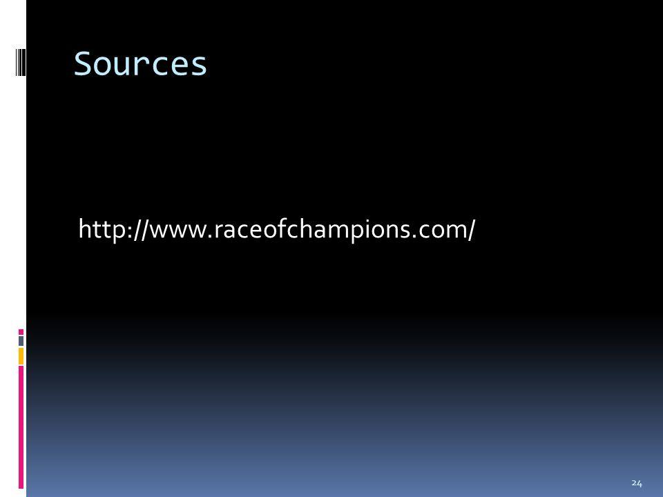 Sources http://www.raceofchampions.com/ 24