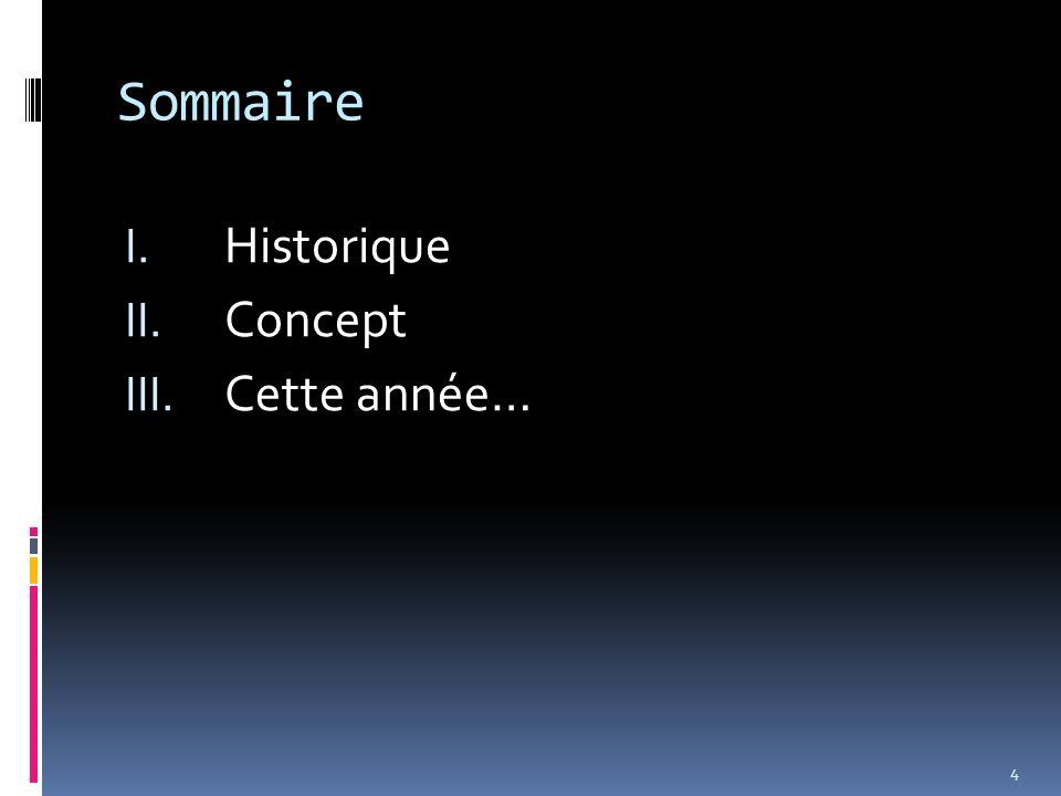 Sommaire I. Historique II. Concept III. Cette année… 4